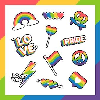 Pride day-etiketten oder aufkleberkollektion im flachen design mit regenbogenfarben