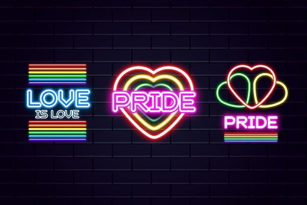 Pride day feier mit leuchtreklamen