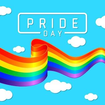 Pride day flagge mit regenbogen und himmel