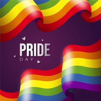 Pride day flagge mit regenbogenfarben