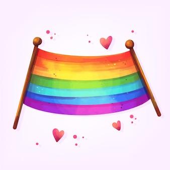 Pride day flagge mit roten herzen