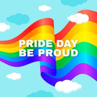 Pride day flagge mit stolzer nachricht sein
