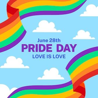 Pride day flagge mit wolken