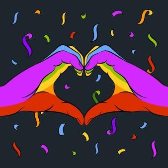 Pride day konzept herz symbol