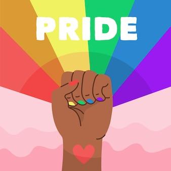 Pride day konzept mit faust und regenbogen