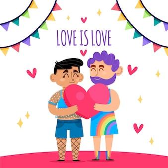 Pride day konzept mit schwulem paar