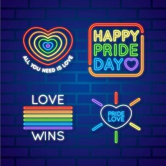 Pride day leuchtreklame sammlungskonzept