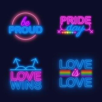 Pride day leuchtreklame sammlungsstil