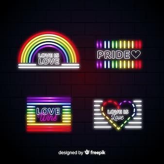 Pride day neon sign sammlung