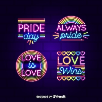 Pride day neon sign sammlung