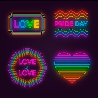 Pride day neon sign set konzept
