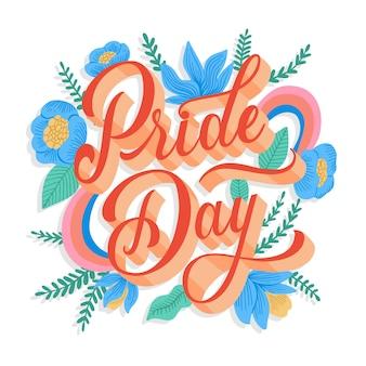 Pride day schriftzug mit blumentapete