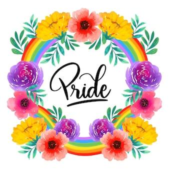 Pride day schriftzug mit bunten blumen