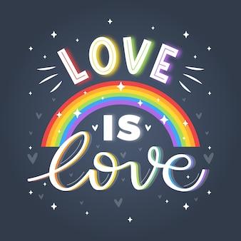 Pride day schriftzug mit glänzendem regenbogenhintergrund