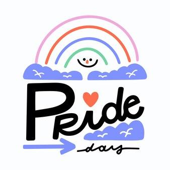 Pride day schriftzug mit hand gezeichneten regenbogen hintergrund
