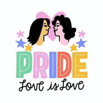 Pride day schriftzug mit lesbischem paar