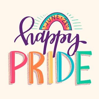 Pride day schriftzug mit regenbogen