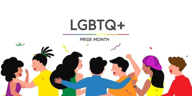 Pride festival-konzept, die gruppe von menschen bereitet gemeinsam ein pride festival-event vor