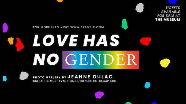 Pride-monats-vorlagenvektor mit liebe hat kein geschlechtszitat für blog-banner