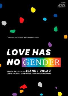Pride-monats-vorlagenvektor mit liebe hat kein geschlechtszitat für poster