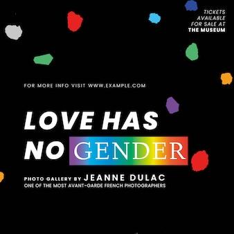 Pride-monats-vorlagenvektor mit liebe hat kein geschlechtszitat für social-media-beiträge