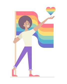 Pride month, flacher lgbt-glückspilz, der herz präsentiert und stolzfahne auf isoliert hält