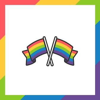 Pride month sticker oder label mit regenbogenfahnen im flat design