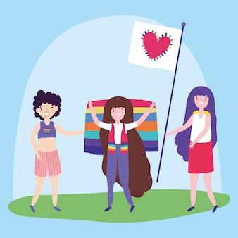 Pride parade lgbt community, glückliche gruppenleute mit regenbogenfahne und herzliebe