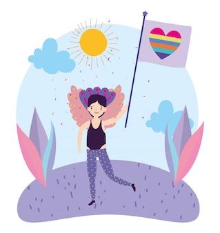 Pride parade lgbt gemeinschaft, glücklicher mann mit kostüm und regenbogenliebesflagge