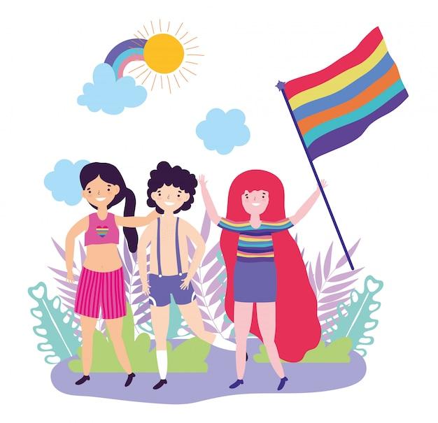 Pride parade lgbt gemeinschaft, menschengruppe mit regenbogenfahne treffen