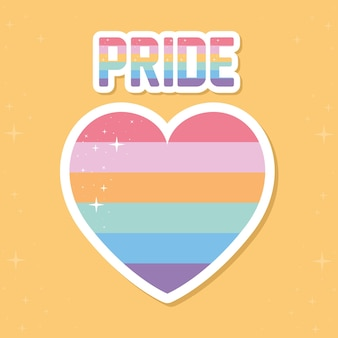 Pride schriftzug mit lgbtq pride farben auf einem herzen