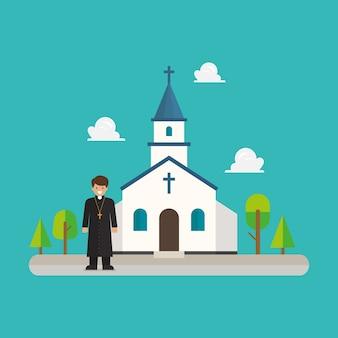 Priester, der vor der kirche im flachen stilentwurf steht