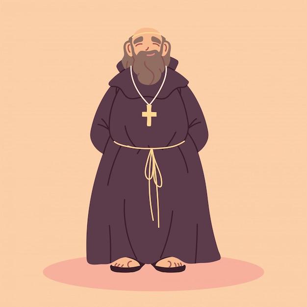 Priester oder mönch in braunem kapuzenkleid
