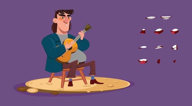 Printa gitarrist oder sänger, der auf einem stuhl sitzt und gitarre und gesang spielt
