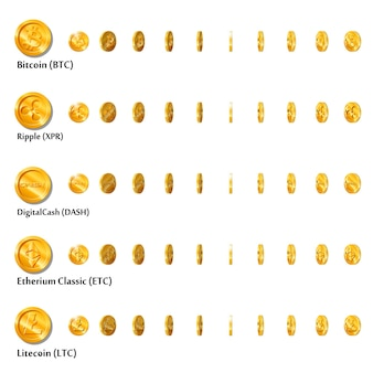 Printflat cartoon-goldmünzen mit kryptowährungssymbolsatz