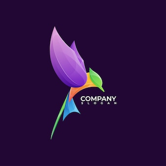 Printmodern bunte kolibri logo illustration premium