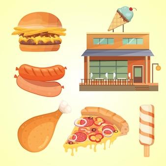 Printmodern flat commercial restaurant gebäude illustration