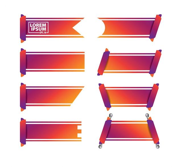 Printribbon-vektor-banner gesetzt
