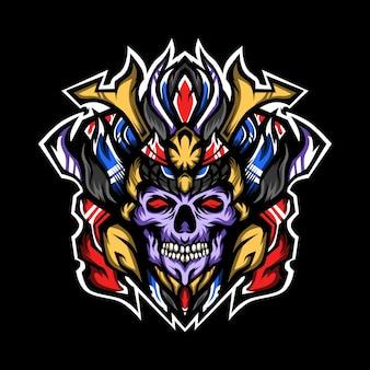 Prinz der samurai-schädelillustration