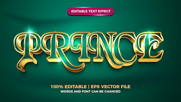 Prinz luxus gold 3d bearbeitbarer texteffekt-vorlagenstil