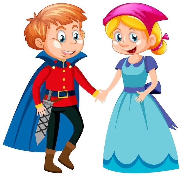Prinz und dienstmädchen-karikaturfigur lokalisiert auf weißem hintergrund