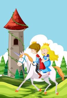 Prinz und prinzessin auf einem pferd