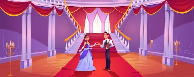 Prinz und prinzessin im königlichen schlosssaal