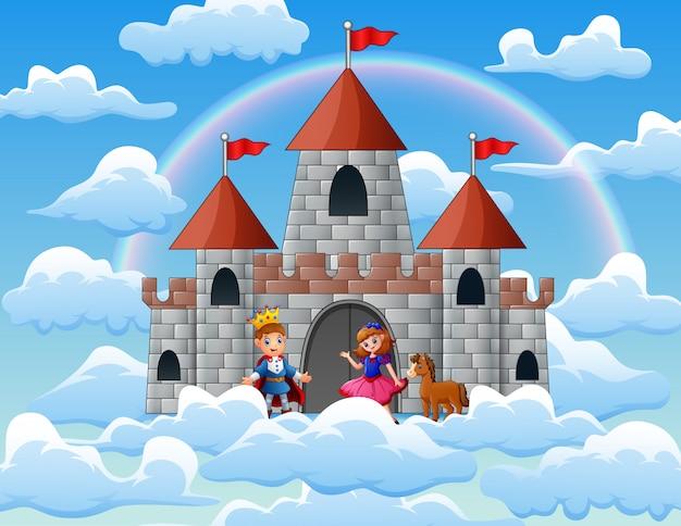 Prinz und prinzessin in einem märchenpalast auf den wolken