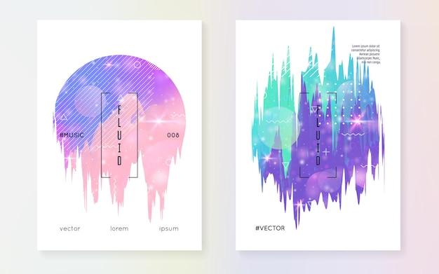 Prinzessin abdeckung. kawaii regenbogenhologramm. holographischer einhorn-gradient. fantasie-set. trendiges universum-banner. prinzessinnenabdeckung mit magischen funkeln, sternen und unschärfen für mädchenpartyeinladung.