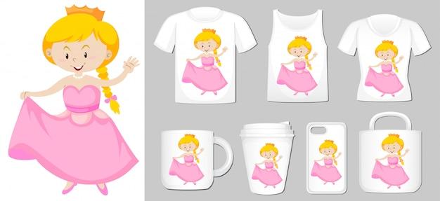 Prinzessin auf verschiedenen produktvorlagen