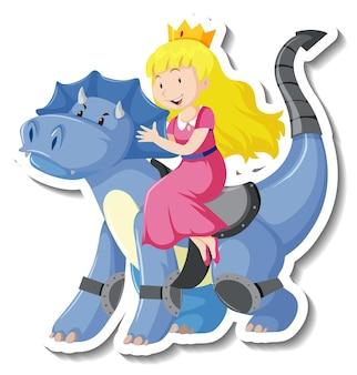 Prinzessin, die einen drachenkarikaturaufkleber reitet