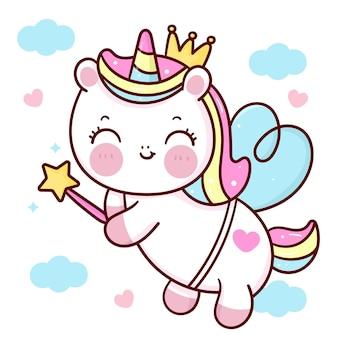 Prinzessin einhorn pegasus cartoon umarmung herz für valentinstag kawaii tier