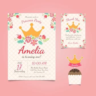 Prinzessin Geburtstags-Einladung mit Blumen