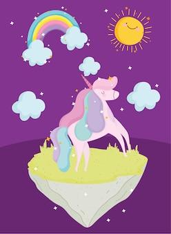 Prinzessin geschichte cartoon einhorn regenbogen fantasie magische tier vektor-illustration